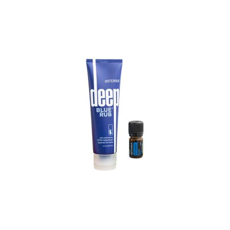 DoTerra pachet promotional Deep Blue, ulei esential doTERRA Deep Blue, crema pentru dureri Deep Blue Rub +recipient roll-on + ulei esential 10 ml
